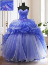 Adorable Organza Sweetheart Sleeveless Court Train Lace Up Beading and Ruffled Layers Quinceanera Dress in Blue