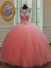 Attractive Scoop Floor Length Watermelon Red Quinceanera Gown Tulle Sleeveless Beading