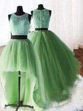 Three Piece Lace With Train Yellow Green Quinceanera Dress Scoop Sleeveless Brush Train Zipper