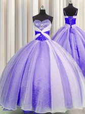 Lavender Lace Up Spaghetti Straps Beading and Sequins and Ruching 15th Birthday Dress Organza Sleeveless
