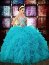 Charming Sequins Ball Gowns Quinceanera Gowns Aqua Blue Off The Shoulder Tulle Sleeveless Floor Length Zipper