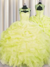 Top Selling Yellow Scoop Neckline Beading and Pick Ups Quinceanera Gown Sleeveless Lace Up
