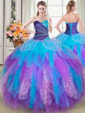 Fine Tulle Sweetheart Sleeveless Lace Up Beading and Ruffles 15th Birthday Dress in Multi-color