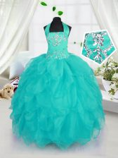 Halter Top Aqua Blue Organza Lace Up Little Girl Pageant Gowns Sleeveless Floor Length Beading