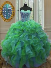 Excellent Sweetheart Sleeveless Quinceanera Gown Floor Length Beading and Ruffles Multi-color Organza