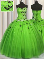 Captivating Lace Up Sweetheart Beading and Appliques Quinceanera Gowns Tulle Sleeveless