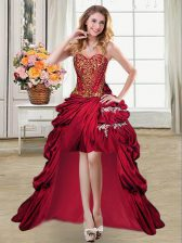 Sumptuous Sleeveless High Low Beading and Appliques and Pick Ups Lace Up Prom Evening Gown with Wine Red