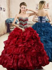 Sleeveless Floor Length Beading and Ruffles Lace Up Sweet 16 Dress with Wine Red