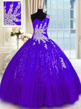 Best Selling One Shoulder Appliques Sweet 16 Quinceanera Dress Purple Lace Up Sleeveless Floor Length