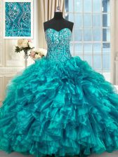 Teal Sleeveless Organza Brush Train Lace Up Vestidos de Quinceanera for Military Ball and Sweet 16 and Quinceanera