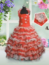 Floor Length Lace Up Little Girls Pageant Dress Wholesale Coral Red for Party and Wedding Party with Beading and Appliques and Ruffled Layers