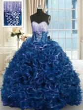 With Train Navy Blue 15 Quinceanera Dress Organza Brush Train Sleeveless Beading and Ruffles