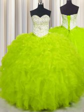 Elegant Yellow Green Ball Gowns Sweetheart Sleeveless Tulle Floor Length Lace Up Beading and Ruffles Ball Gown Prom Dress