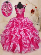 White And Red Ball Gowns Beading and Ruffles Vestidos de Quinceanera Lace Up Organza Sleeveless Floor Length