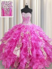 Luxury Sequins Visible Boning Fuchsia Sleeveless Organza and Sequined Lace Up Vestidos de Quinceanera for Military Ball and Sweet 16 and Quinceanera