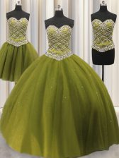 Stylish Three Piece Sequins Floor Length Olive Green Vestidos de Quinceanera Sweetheart Sleeveless Lace Up