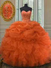 Organza Sweetheart Sleeveless Lace Up Beading and Ruffles and Pick Ups Vestidos de Quinceanera in Orange Red