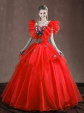 Red Sweetheart Lace Up Appliques and Ruffles Quinceanera Dress Sleeveless