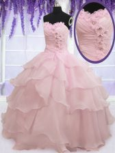 Fantastic Baby Pink Sleeveless Ruffled Layers Floor Length Sweet 16 Dresses