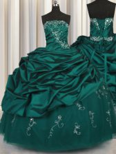 Peacock Green Sleeveless Beading and Appliques and Embroidery and Pick Ups Floor Length Quinceanera Dress