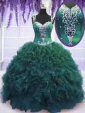 Straps Beading and Ruffles Vestidos de Quinceanera Dark Green Zipper Sleeveless Floor Length