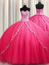 Gorgeous Sweetheart Sleeveless Quinceanera Dresses Brush Train Beading Hot Pink Tulle