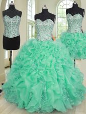 Three Piece Turquoise Ball Gowns Organza Sweetheart Sleeveless Beading and Ruffles Floor Length Lace Up Ball Gown Prom Dress