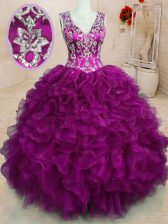 Sleeveless Backless Floor Length Beading and Embroidery and Ruffles Sweet 16 Quinceanera Dress