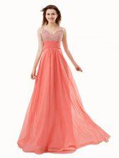 Hot Selling Watermelon Red Sleeveless Floor Length Beading Side Zipper Dress for Prom