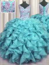 Noble Ruffled V Neck Sleeveless Lace Up Floor Length Appliques and Ruffles 15 Quinceanera Dress