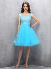 Dazzling Tulle Scoop Sleeveless Zipper Beading and Appliques Prom Party Dress in Blue