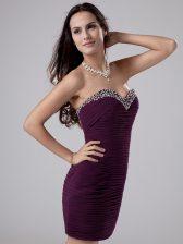 Sleeveless Beading and Ruching Zipper Prom Dress