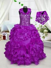 Customized Halter Top Sleeveless Beading Zipper Child Pageant Dress