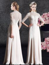 Fashion Floor Length Champagne Evening Dress Satin Half Sleeves Lace
