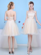 Traditional Tulle Sleeveless Knee Length Quinceanera Dama Dress and Bowknot