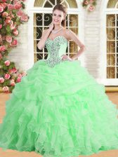 Traditional Sweetheart Sleeveless Tulle Quinceanera Gowns Appliques and Ruffles and Pick Ups Lace Up
