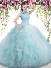 Ball Gowns Ball Gown Prom Dress Baby Blue High-neck Tulle Sleeveless Floor Length Backless