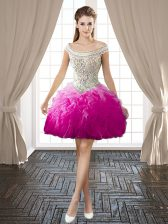 Customized Off the Shoulder Mini Length Backless Prom Evening Gown Fuchsia for Prom and Party with Beading and Ruffles