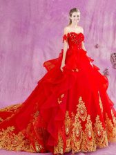 With Train Red Quinceanera Gowns Off The Shoulder Sleeveless Court Train Lace Up