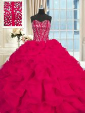 Sleeveless Organza Brush Train Lace Up Quinceanera Dresses in Red with Beading and Ruffles