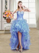 On Sale Blue Sweetheart Neckline Sequins Prom Dresses Sleeveless Lace Up