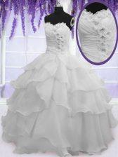 Beautiful Sleeveless Beading and Ruffled Layers Lace Up Sweet 16 Dress