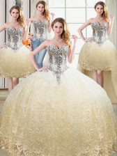 Classical Four Piece Sweetheart Sleeveless Lace Up Quinceanera Gowns Champagne Tulle and Lace