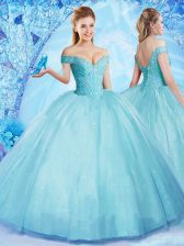 Custom Fit Off The Shoulder Sleeveless Lace Up Sweet 16 Dresses Aqua Blue Tulle