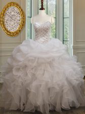 Most Popular White Sweetheart Lace Up Beading and Ruffles and Pick Ups Sweet 16 Dresses Sleeveless