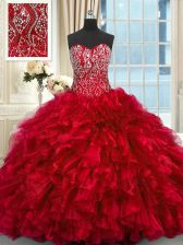 Chic Sweetheart Sleeveless Brush Train Lace Up Ball Gown Prom Dress Red Organza