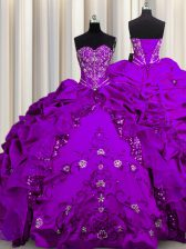 Vintage Sequins Sweetheart Sleeveless Quinceanera Gown Floor Length Beading and Embroidery and Ruffles Purple Taffeta