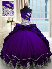 Discount Sleeveless Brush Train Beading and Appliques and Pick Ups Lace Up Vestidos de Quinceanera