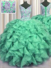 Hot Sale Turquoise V-neck Neckline Beading and Ruffles 15 Quinceanera Dress Sleeveless Lace Up