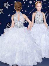 White Halter Top Neckline Beading and Ruffles Little Girls Pageant Dress Sleeveless Zipper